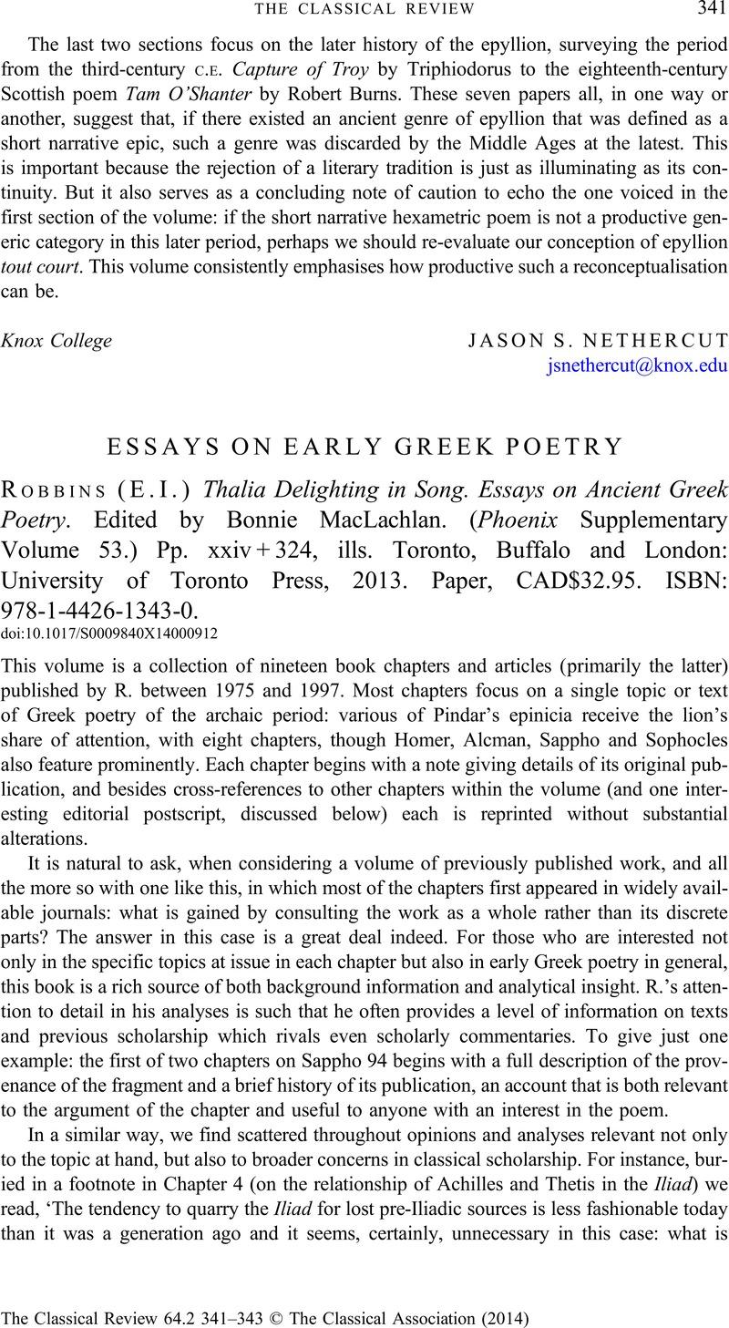 Thalia Delighting in Song: Essays on Ancient Greek Poetry (Phoenix Supplementary Volumes)