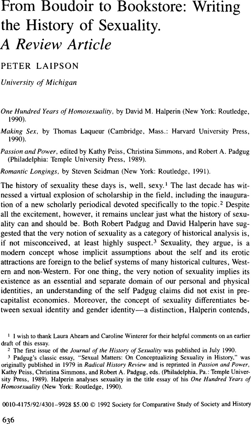 Pat caplan the cultural construction of sexuality