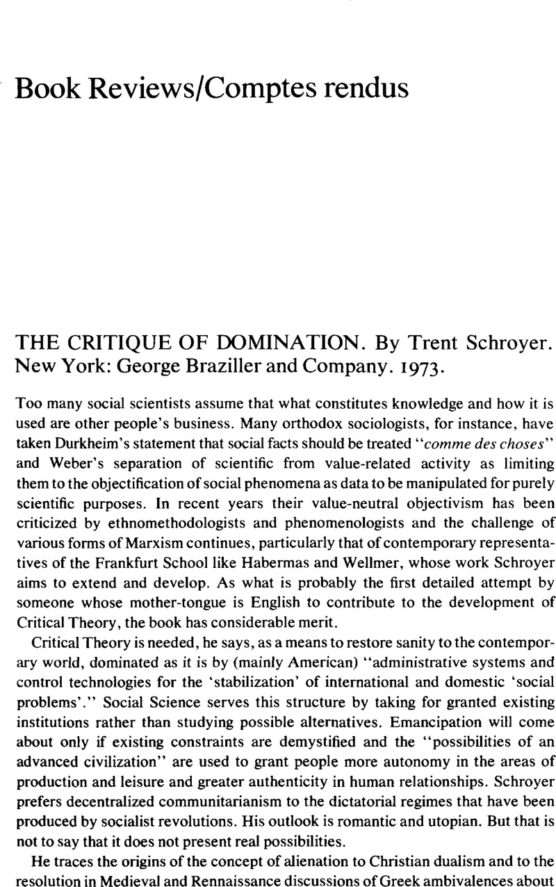 Can not Critique of domination