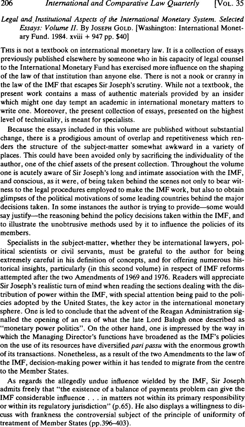 Legal and institutional aspects of the international monetary system : selected essays