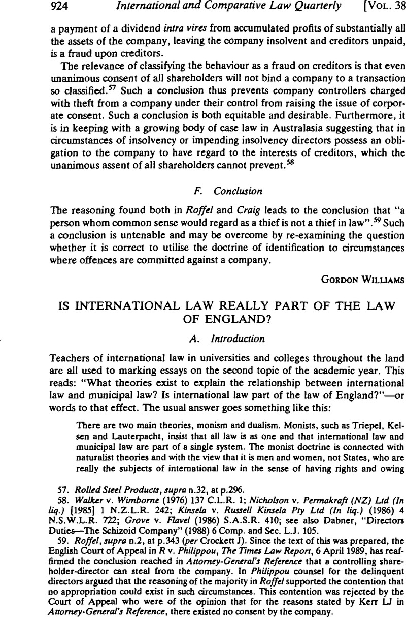 is international law really part of the law of england copyright