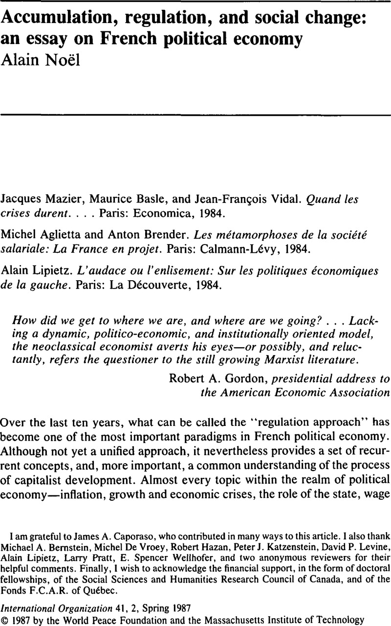 accumulation regulation and social change an essay on french copyright