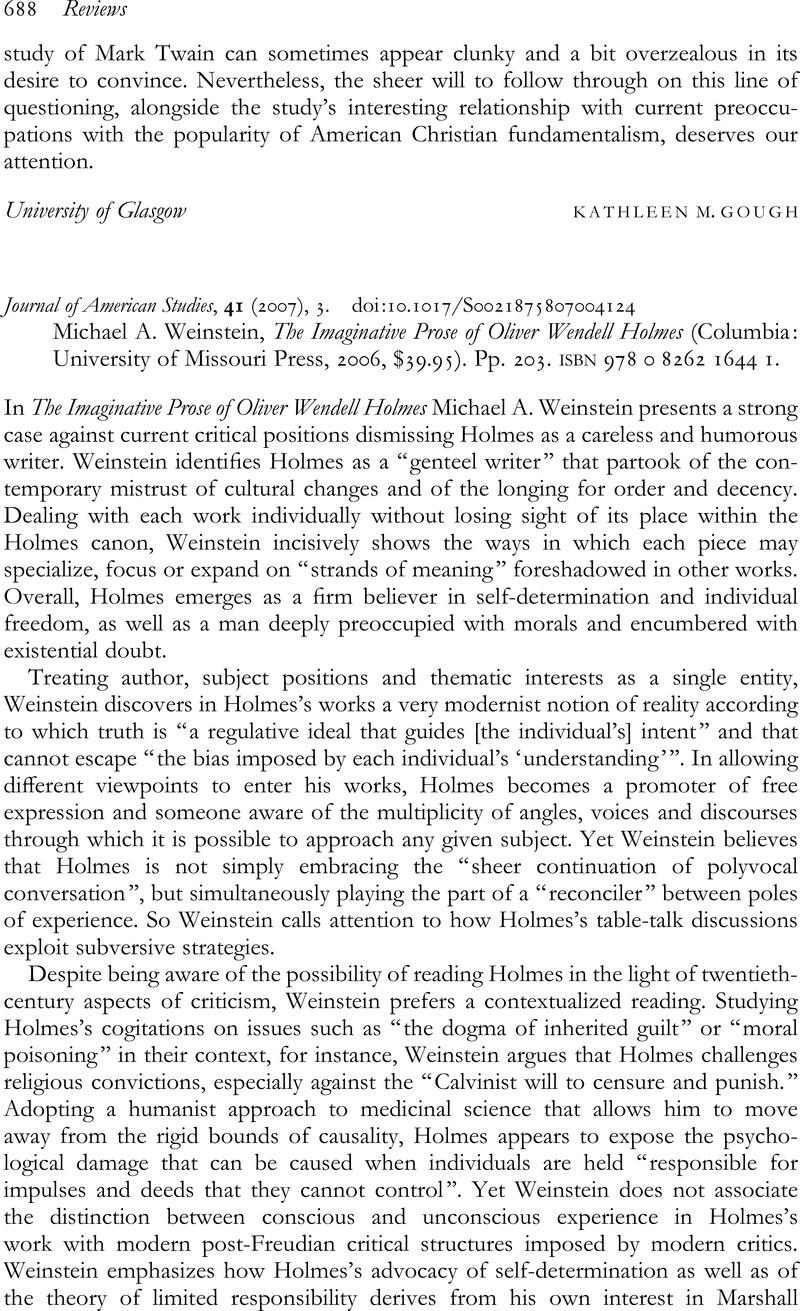 The Imaginative Prose of Oliver Wendell Holmes