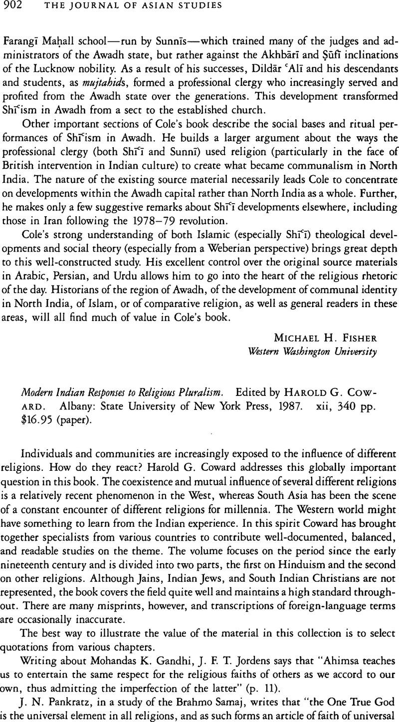 Modern Indian Responses to Religious Pluralism
