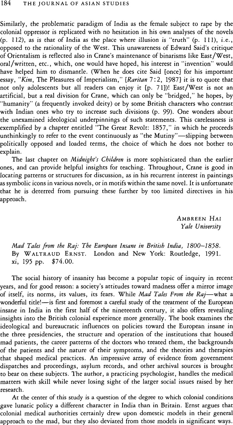 Mad Tales from the Raj: The European Insane in British India, 1800-1858