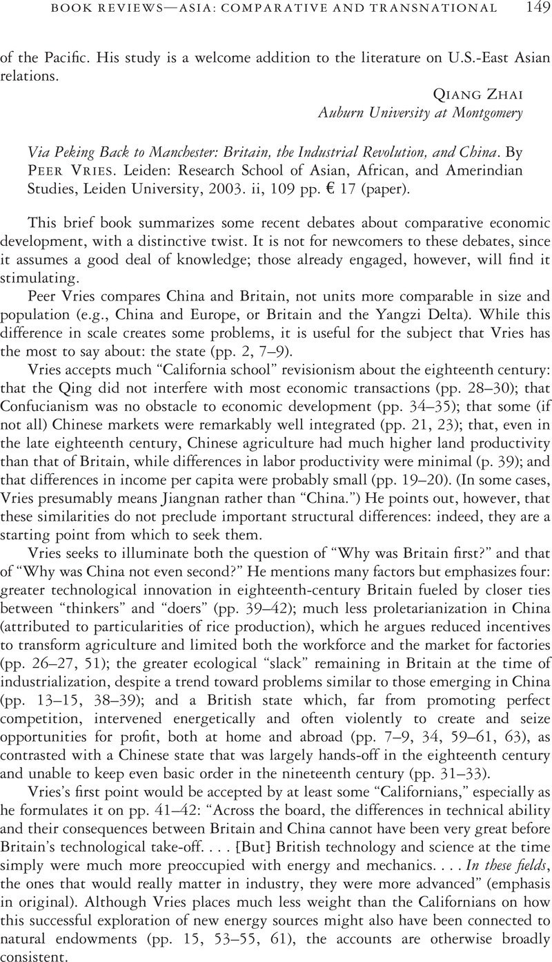 via peking back to manchester britain the industrial revolution via peking back to manchester britain the industrial revolution and by vriespeer leiden research school of asian african and amer n