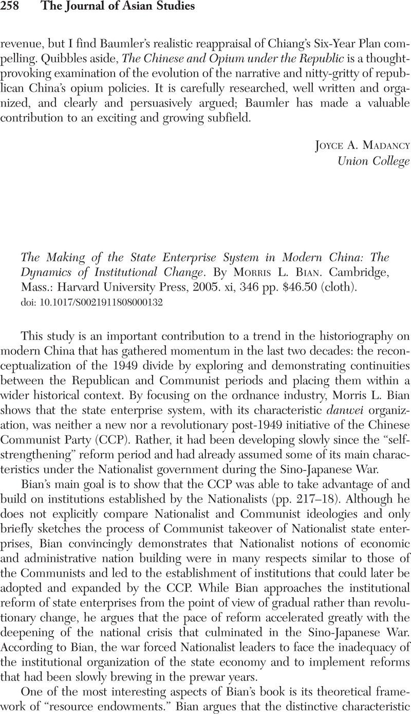 The Making of the State Enterprise System in Modern China: The Dynamics of Institutional Change
