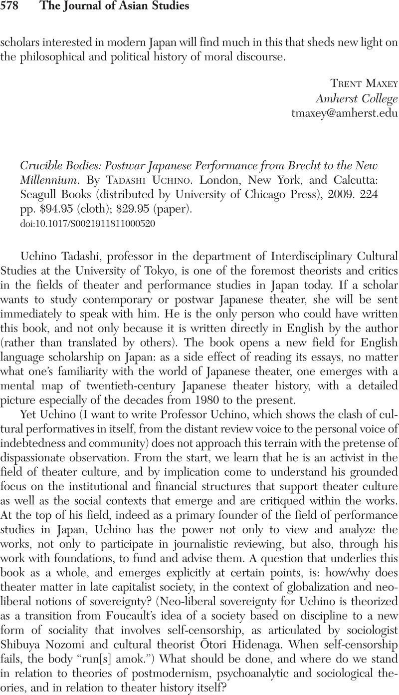 Crucible bodies : postwar Japanese performance from Brecht to the new millennium