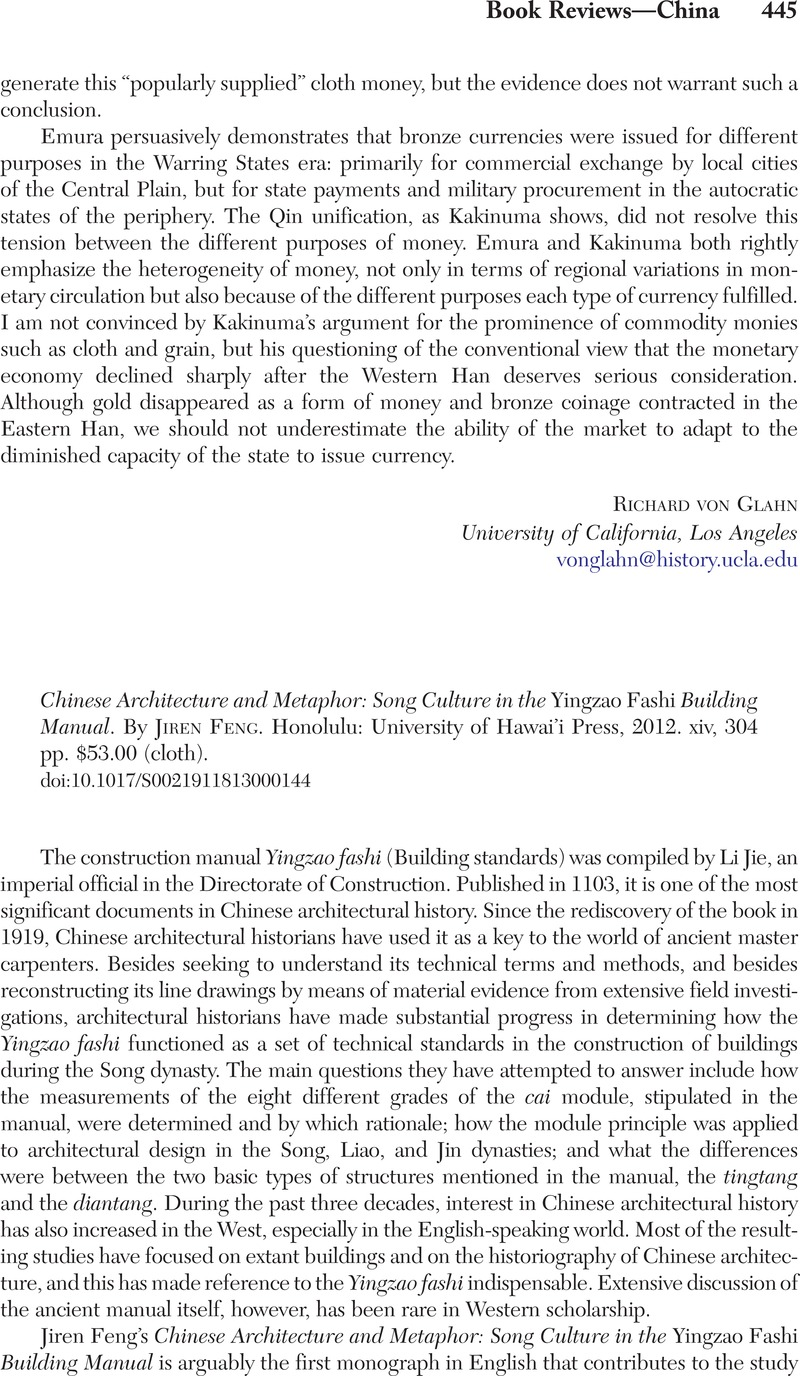 Chinese Architecture and Metaphor: Song Culture in the Yingzao Fashi Building Manual