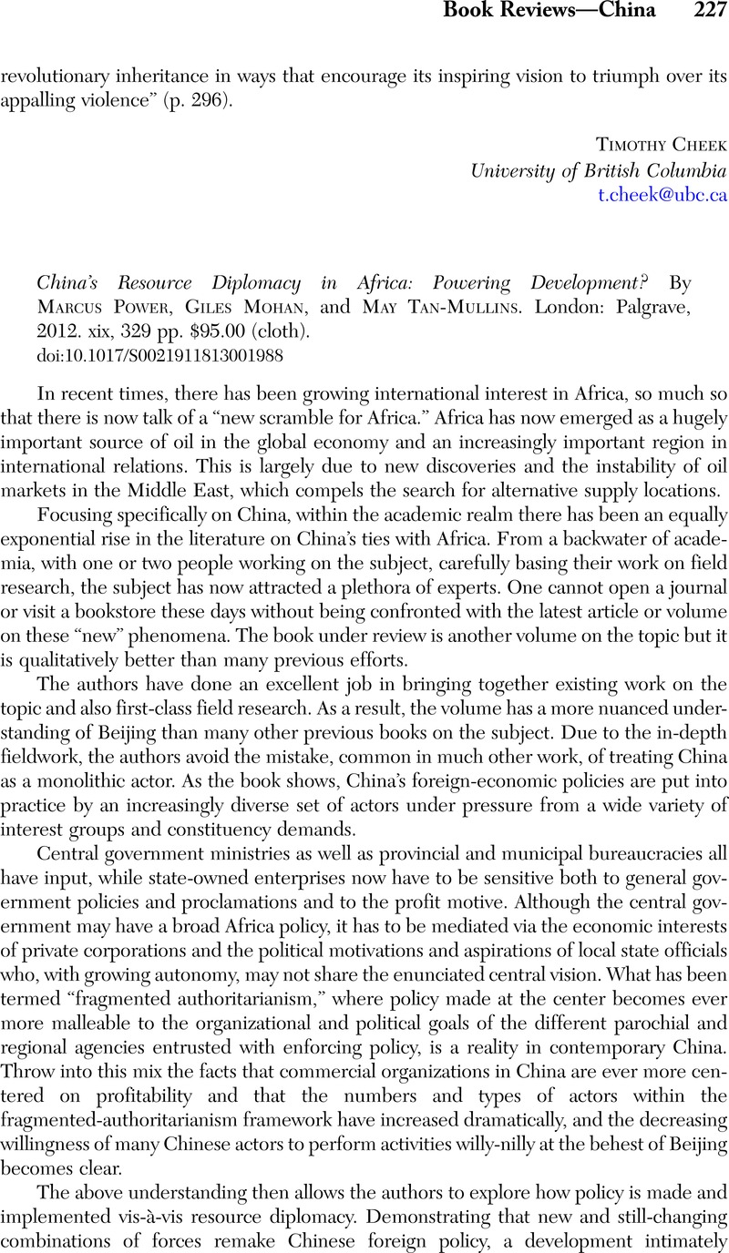 Existing explanations of China–Africa politics: bilateral relations and state elites