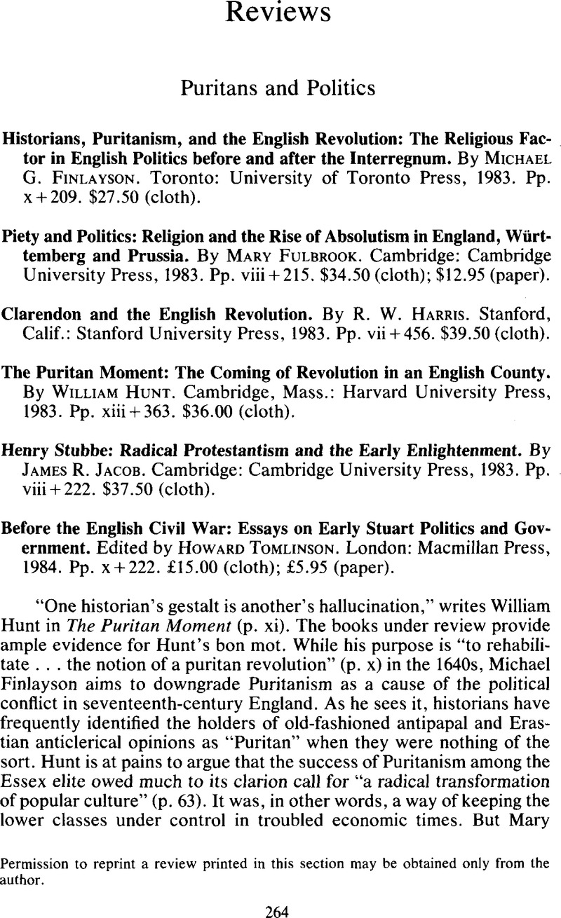 Before the English Civil War: Essays on Early Stuart Politics and Government