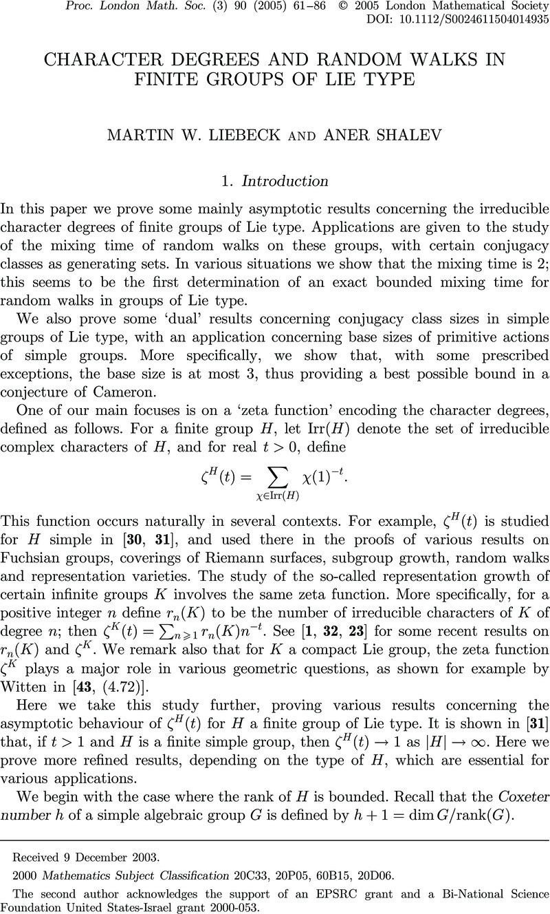 Characters of Finite Groups. Part 1