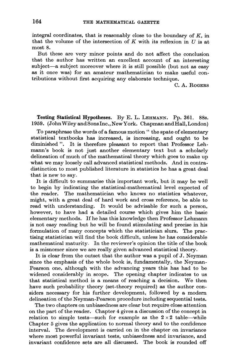 Statistical pdf testing hypotheses lehmann