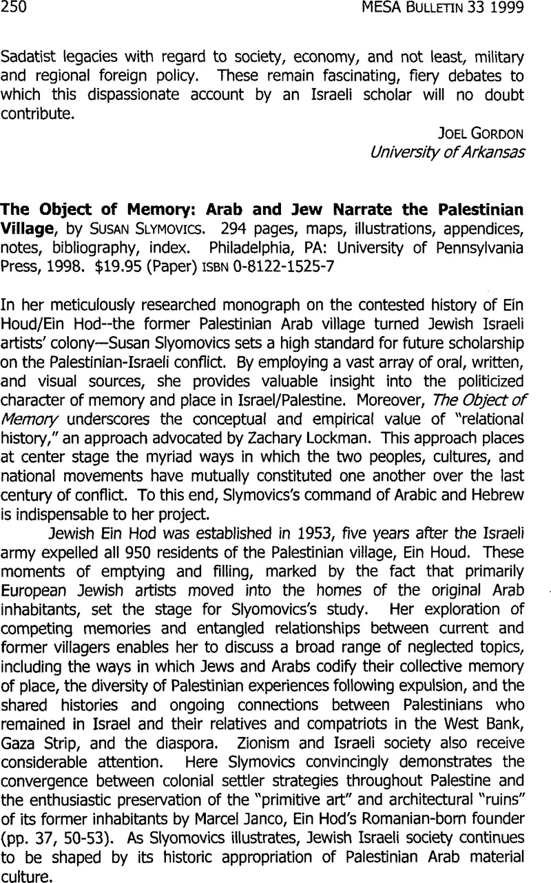 The Object of Memory: Arab and Jew Narrate the Palestinian Village