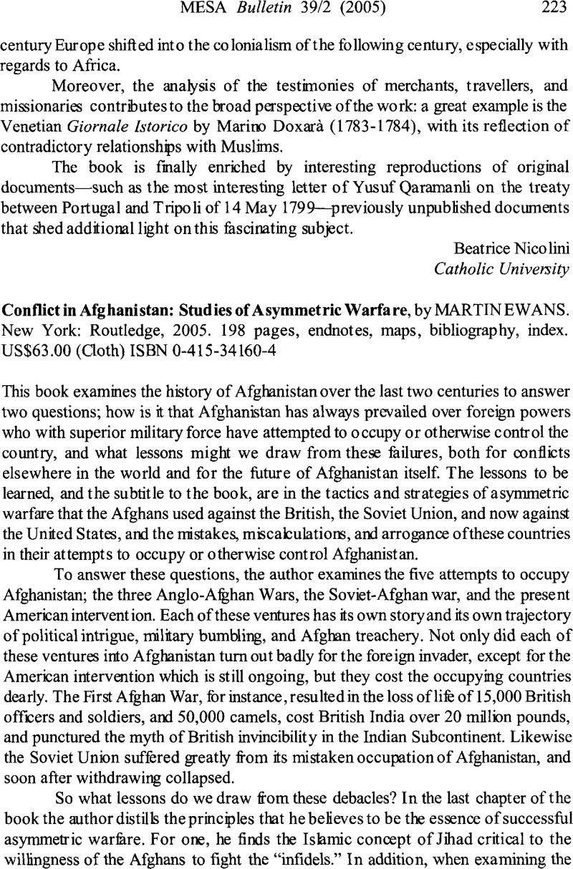Conflict in Afghanistan: Studies in Asymetric Warfare