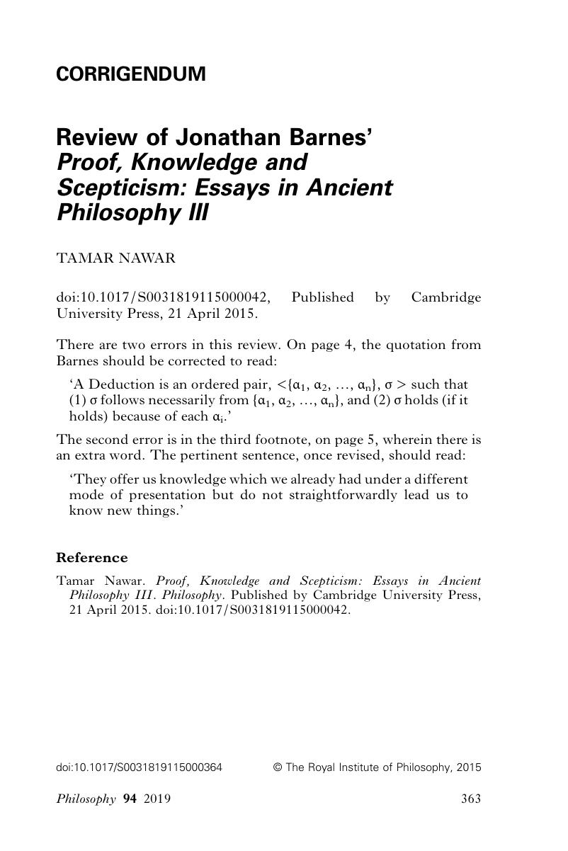review of jonathan barnes proof knowledge and scepticism essays review of jonathan barnes proof knowledge and scepticism essays in ancient philosophy iii