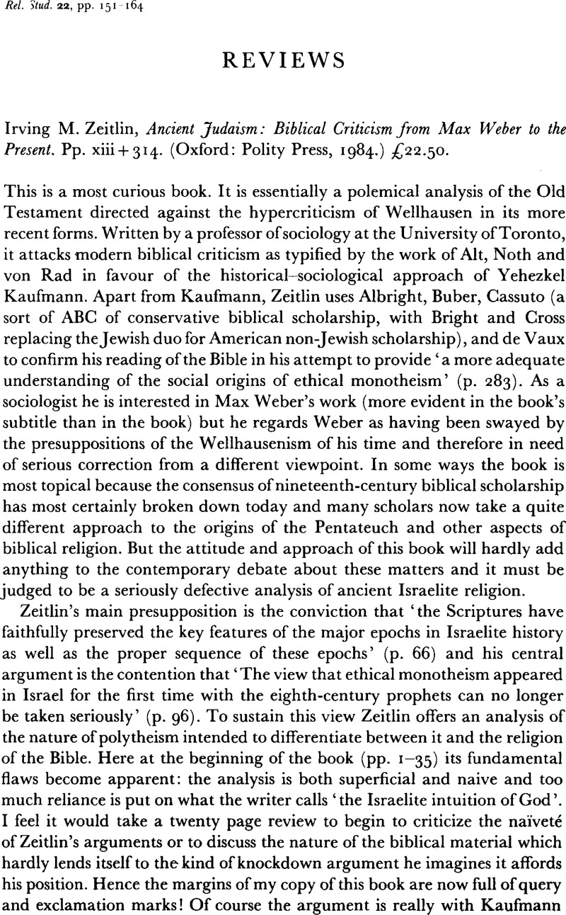 Ancient Judaism: Biblical Criticism from Max Weber to the Present