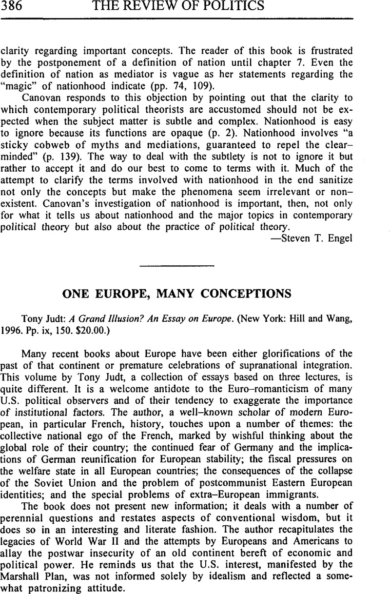 one europe many conceptions judttony a grand illusion an one europe many conceptions judttony a grand illusion an essay on europe new york hill and wang 1996 pp ix 150 20 00
