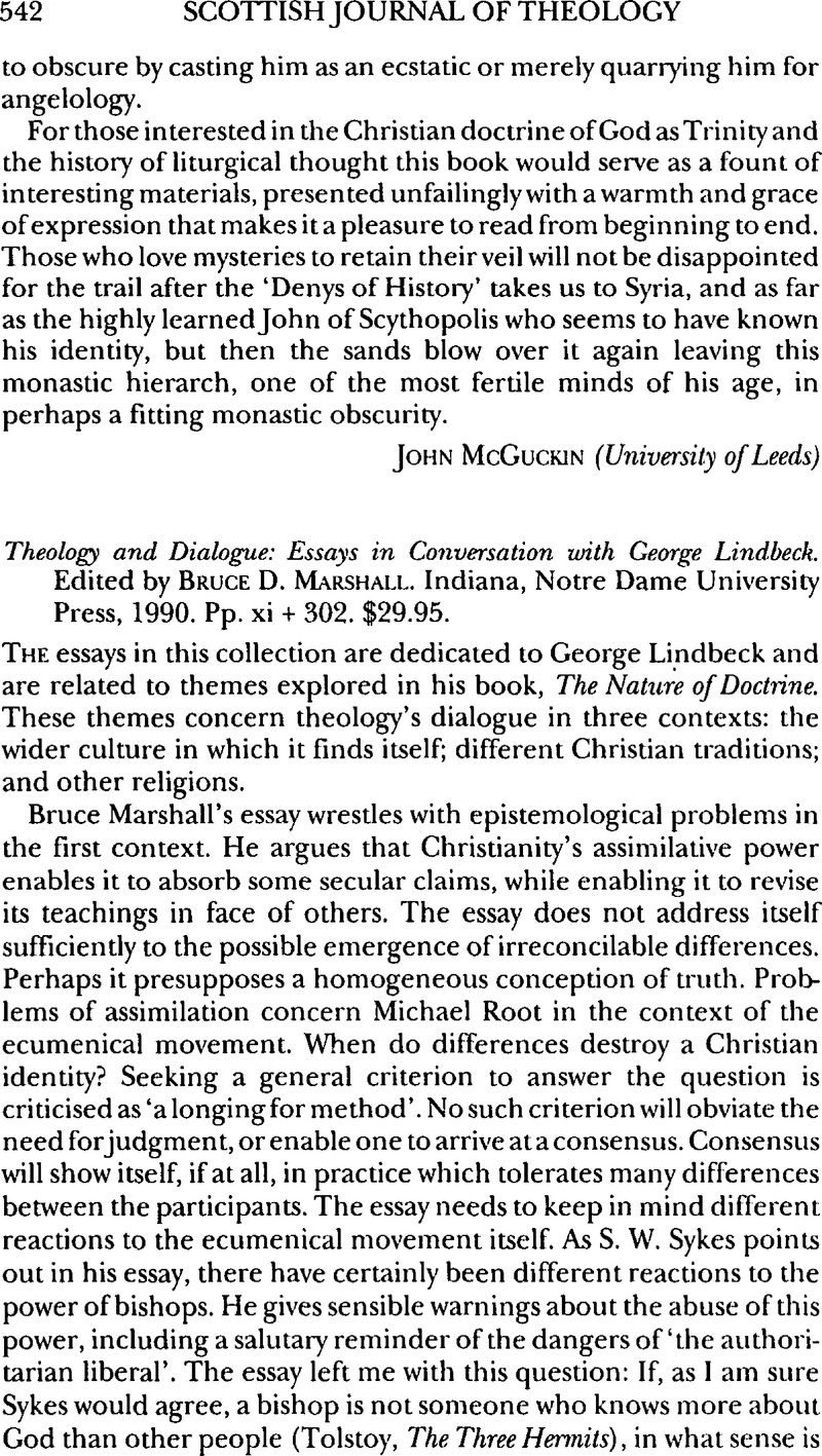 theology and dialogue essays in conversation george lindbeck theology and dialogue essays in conversation george lindbeck edited by marshallbruce d na notre dame university press 1990 pp xi 302