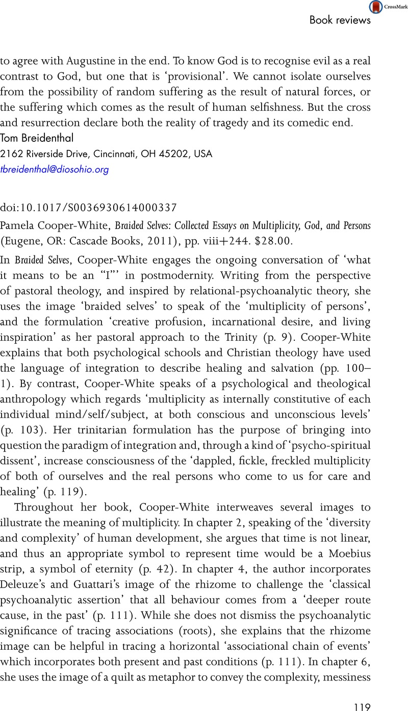 pamelacooper white braided selves collected essays on pamelacooper white braided selves collected essays on multiplicity god and persons eugene or cascade books 2011 pp viii 244 28 00