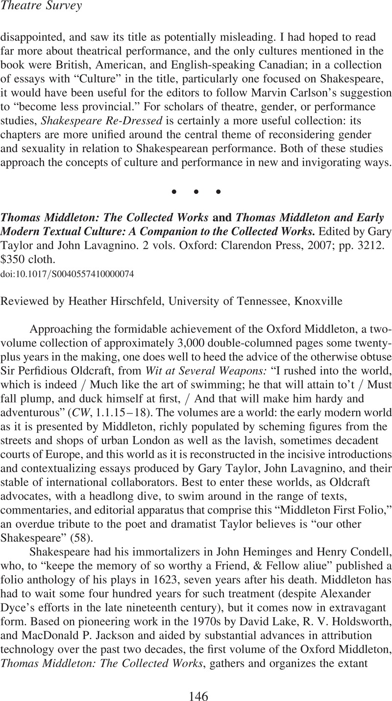 Thomas Middleton and Early Modern Textual Culture: A Companion to the Collected Works