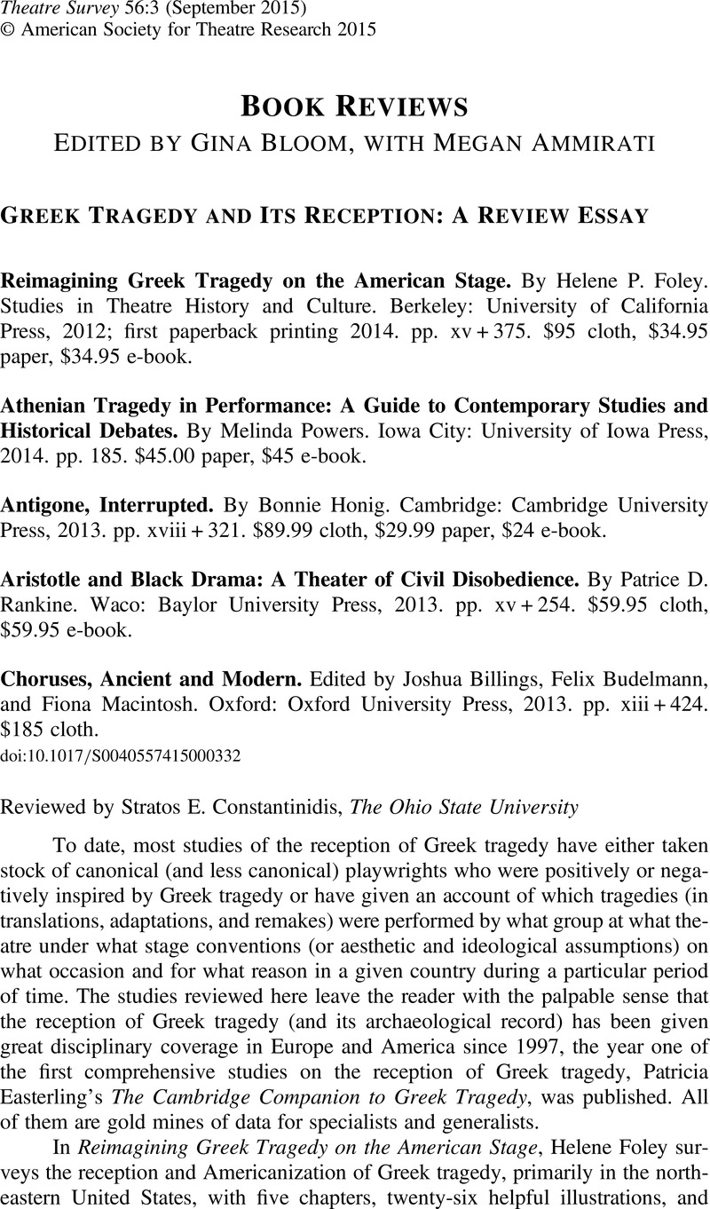 reimagining greek tragedy on the american stage by helene p foley copyright