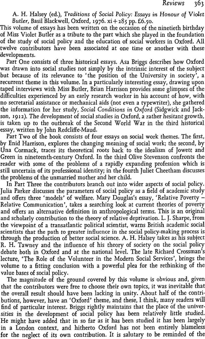 halseya h ed traditions of social policy essays in honour halseya h ed traditions of social policy essays in honour of violet butler basil blackwell oxford 1976 xi 285 pp pound6 50