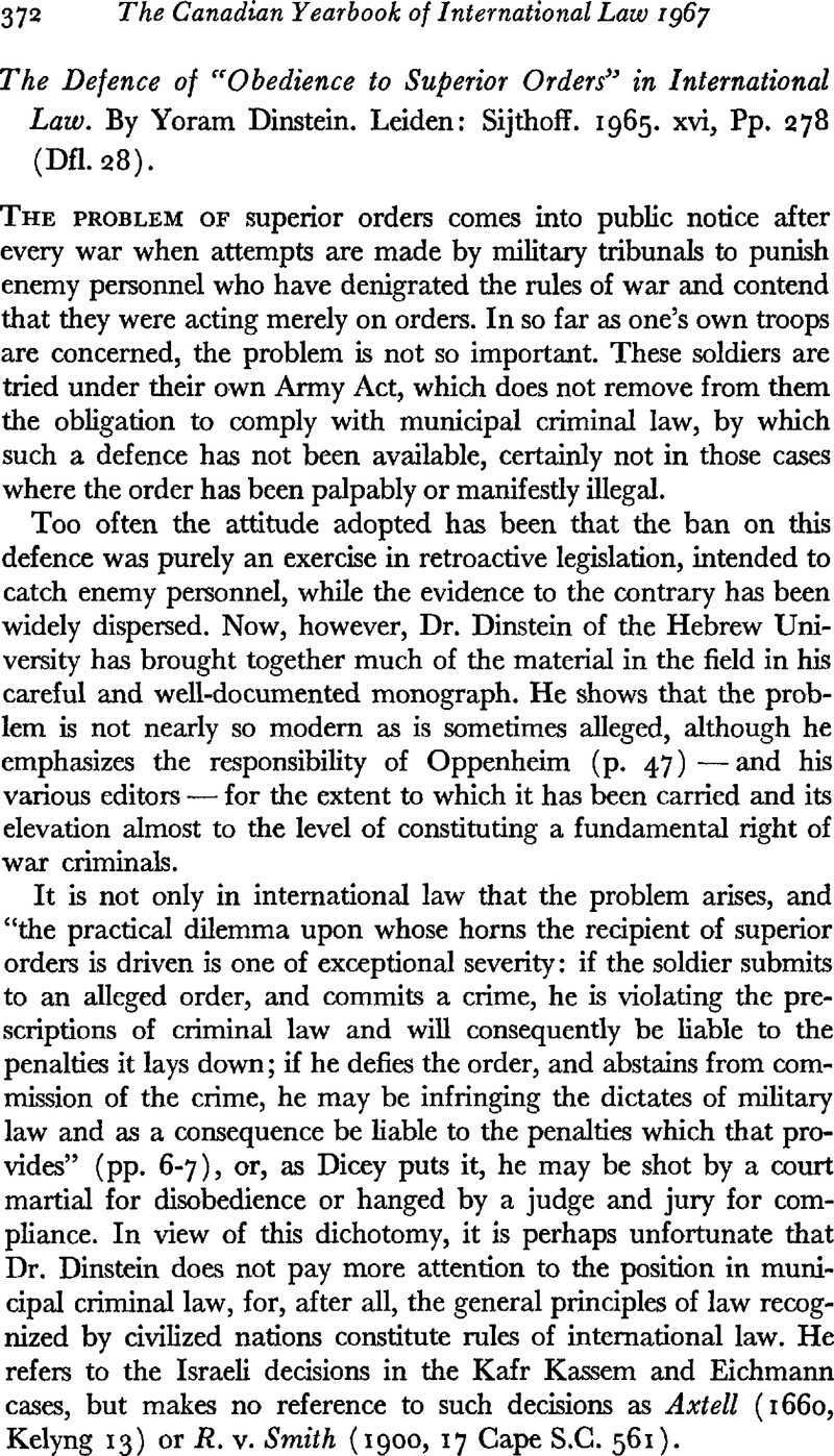 The Defence of Obedience to Superior Orders in International Law