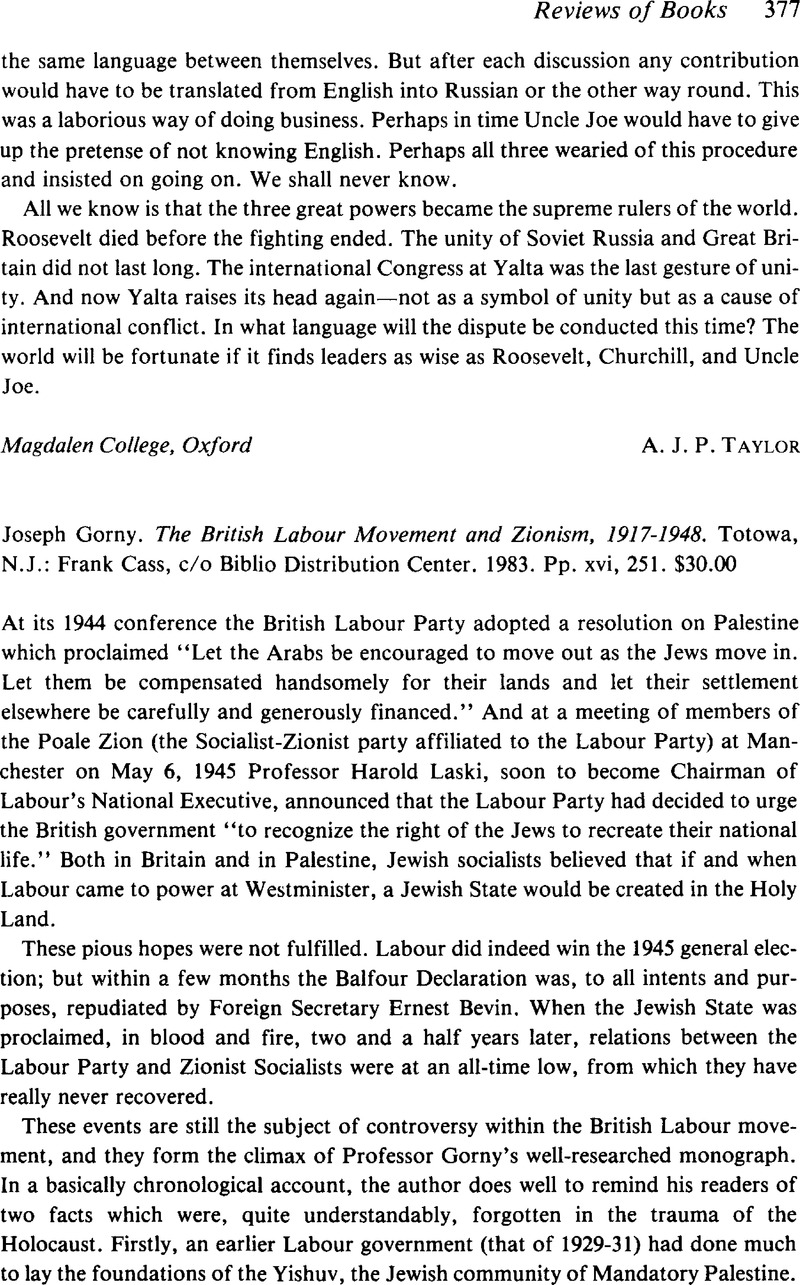 The British Labour Movement and Zionism, 1917-1948
