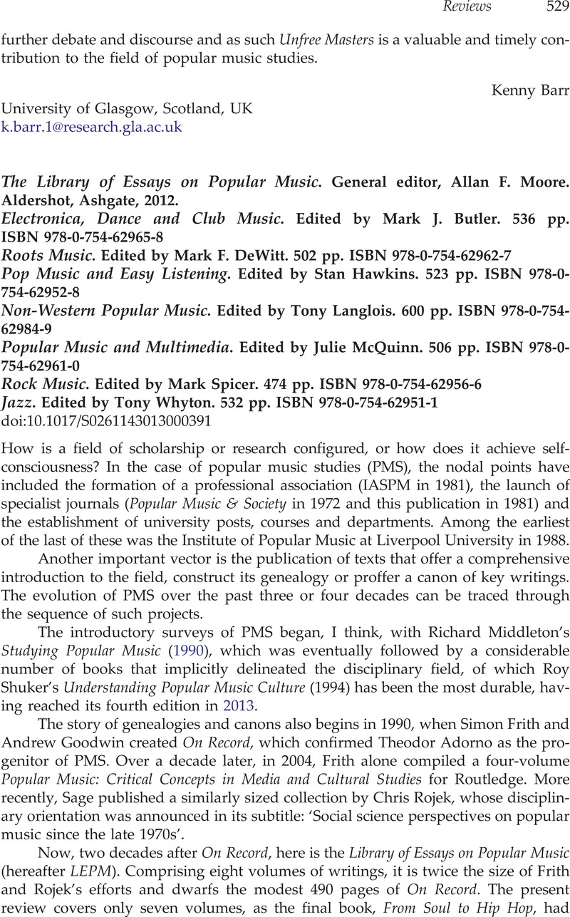 ashgate library essays popular music  ashgate library essays popular music