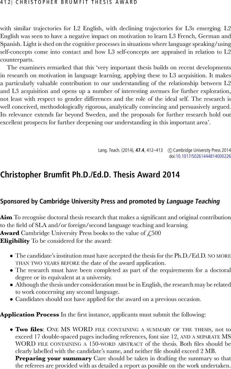 christopher brumfit thesis award