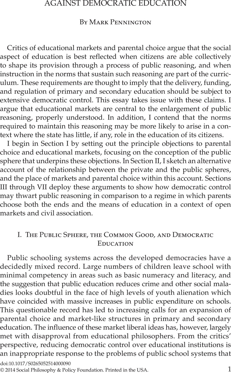 impact of democracy on education