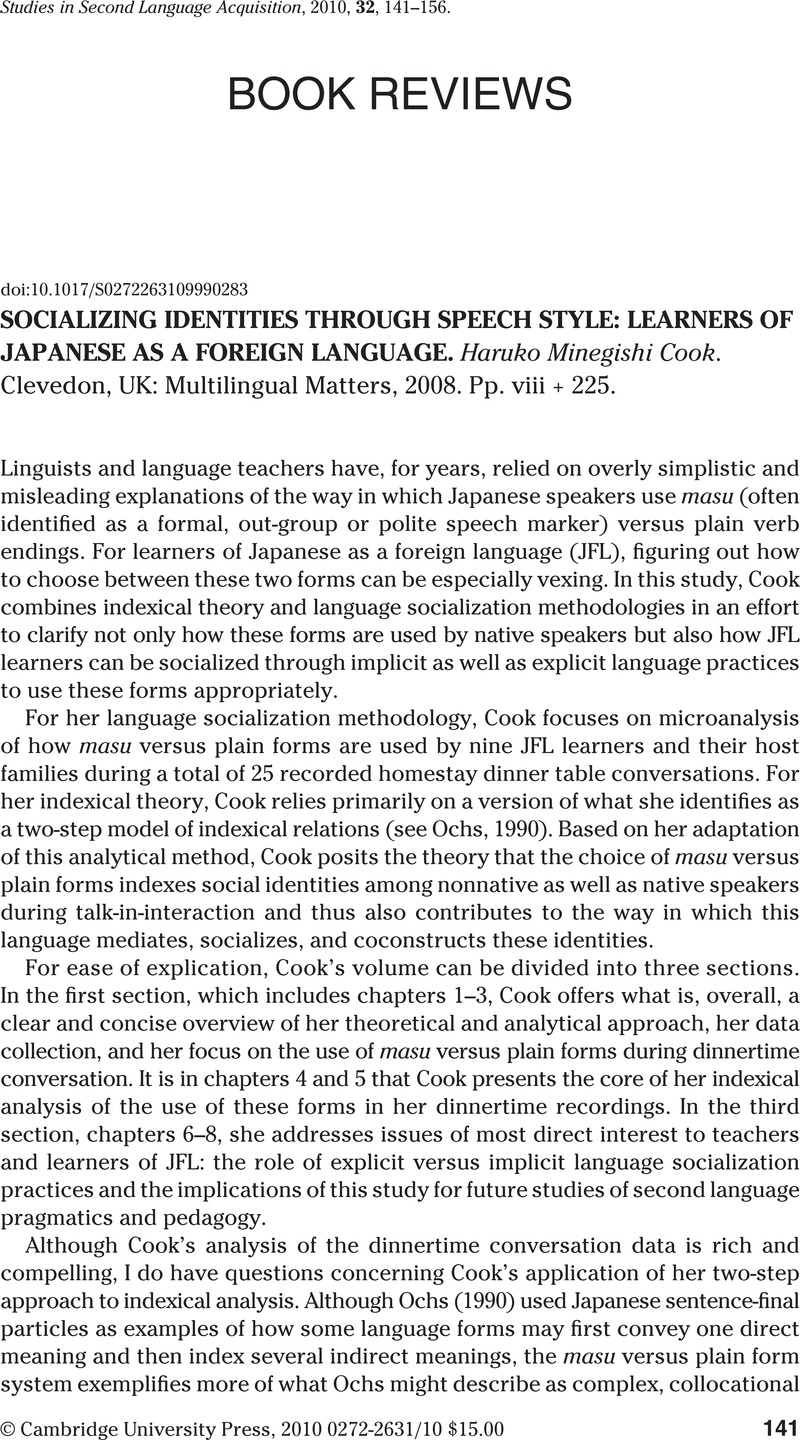Socializing Identities through Speech Style: Learners of Japanese as a Foreign Language