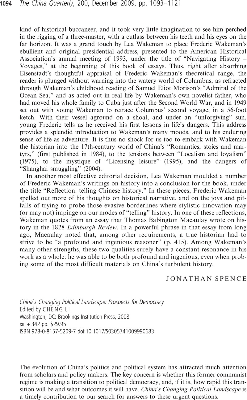 Chinas Changing Political Landscape: Prospects for Democracy
