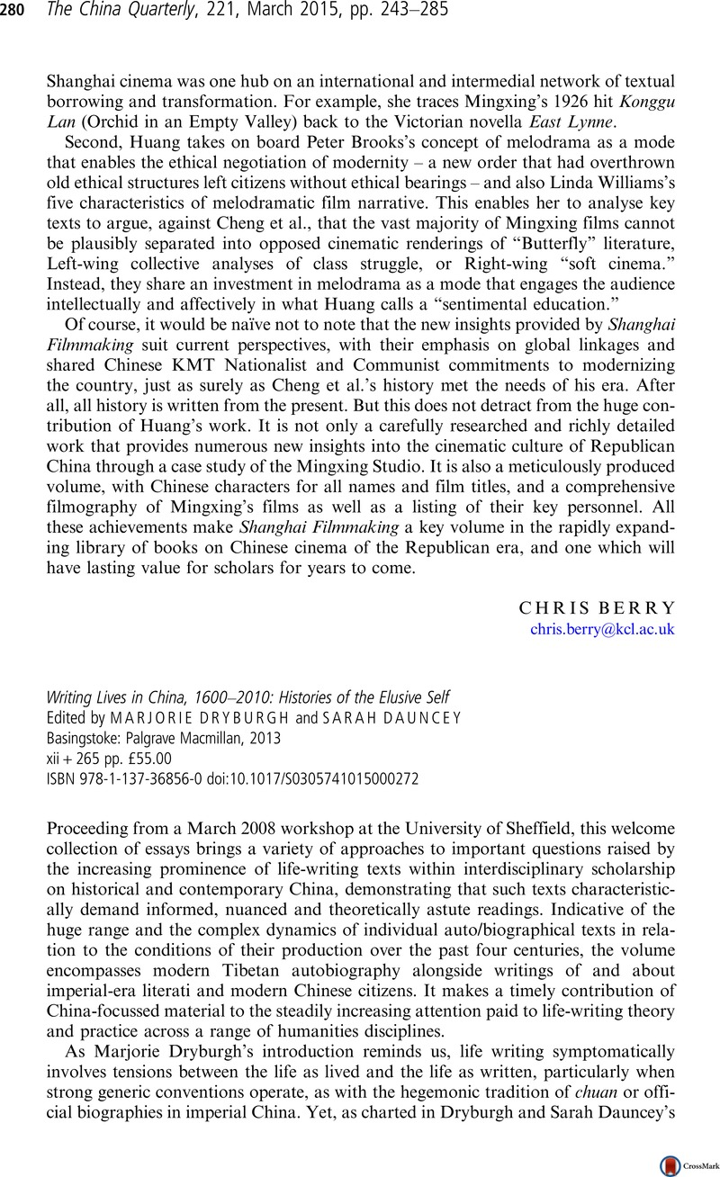 Writing Lives in China, 1600–2010: Histories of the Elusive Self