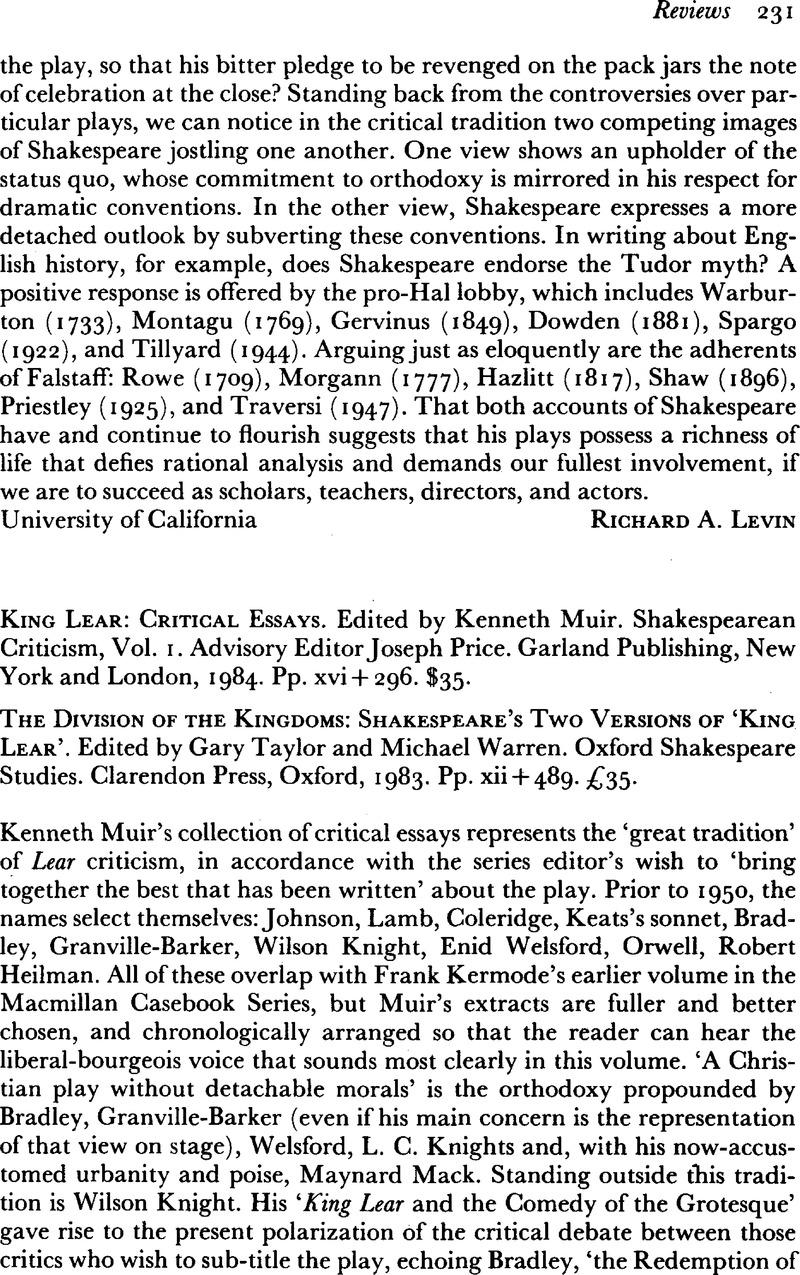 King Lear: Critical Essays: Volume 4 (Shakespearean Criticism)