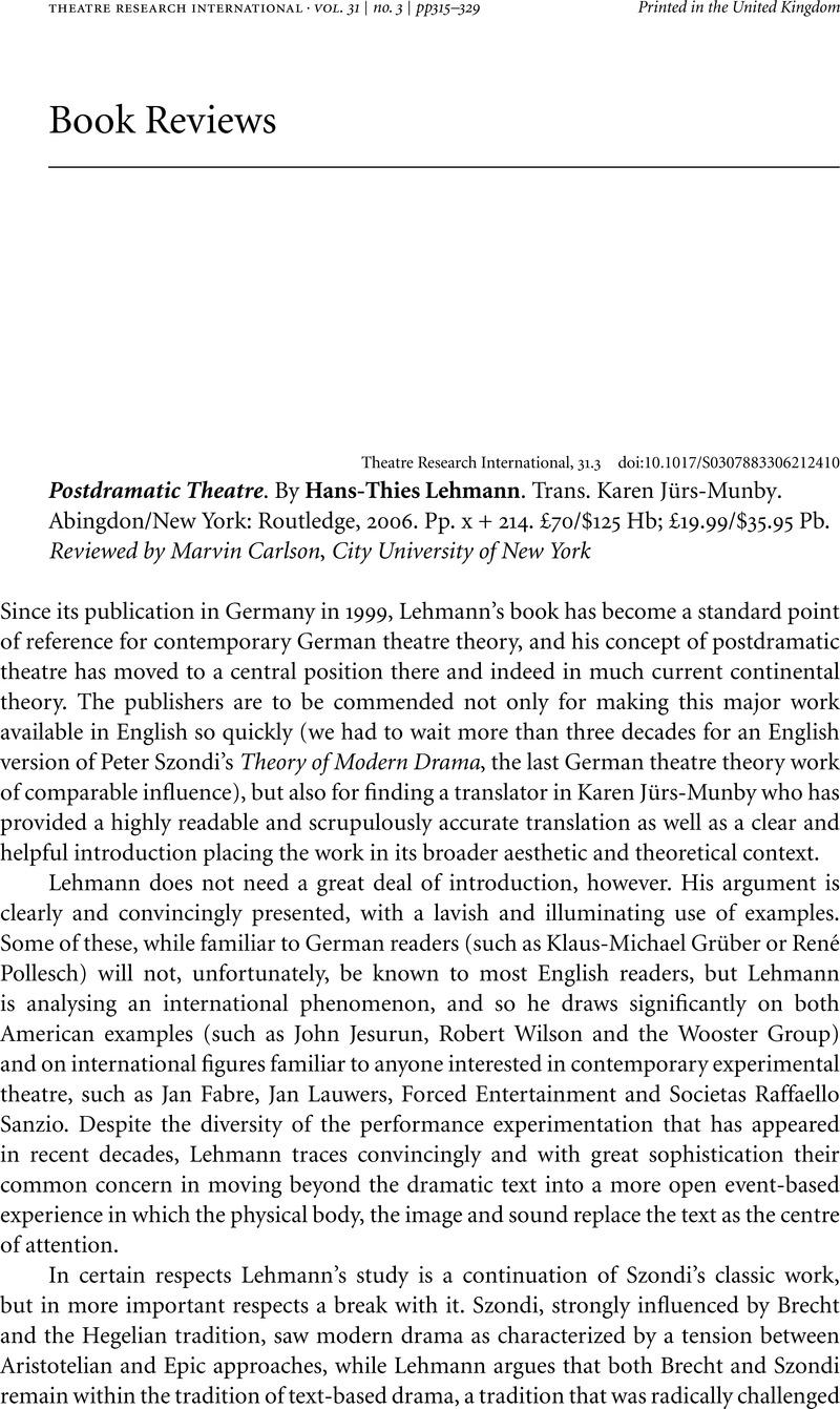 Pdf hans-thies postdramatic theatre lehmann