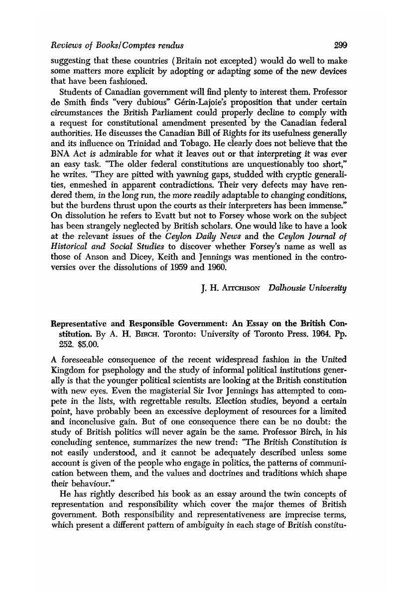 representative and responsible government an essay on the british representative and responsible government an essay on the british constitution by bircha h toronto university of toronto press 1964 pp 252 5 00