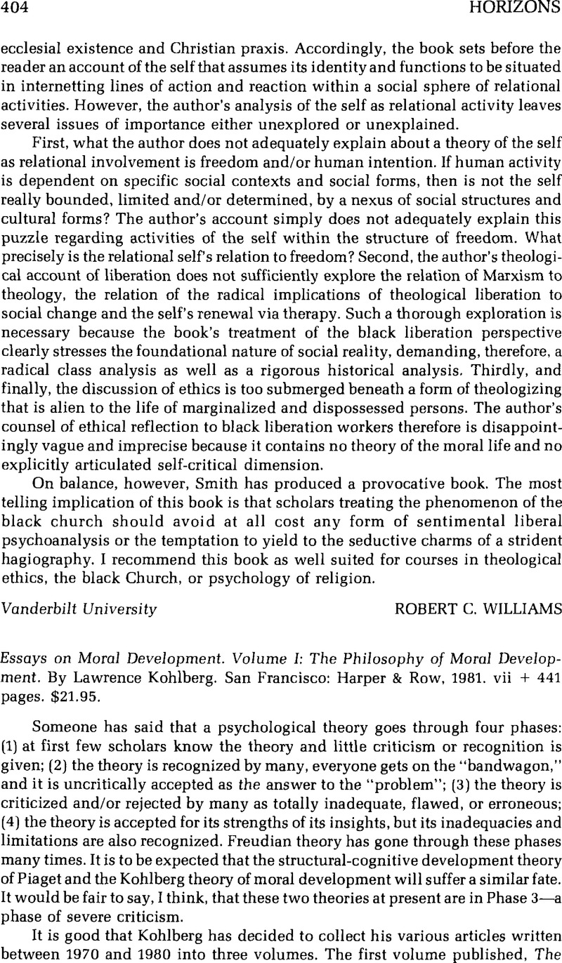 essays on moral development volume i the philosophy of moral essays on moral development volume i the philosophy of moral development by kohlberglawrence san francisco harper row 1981 vii 441 pages 21 95
