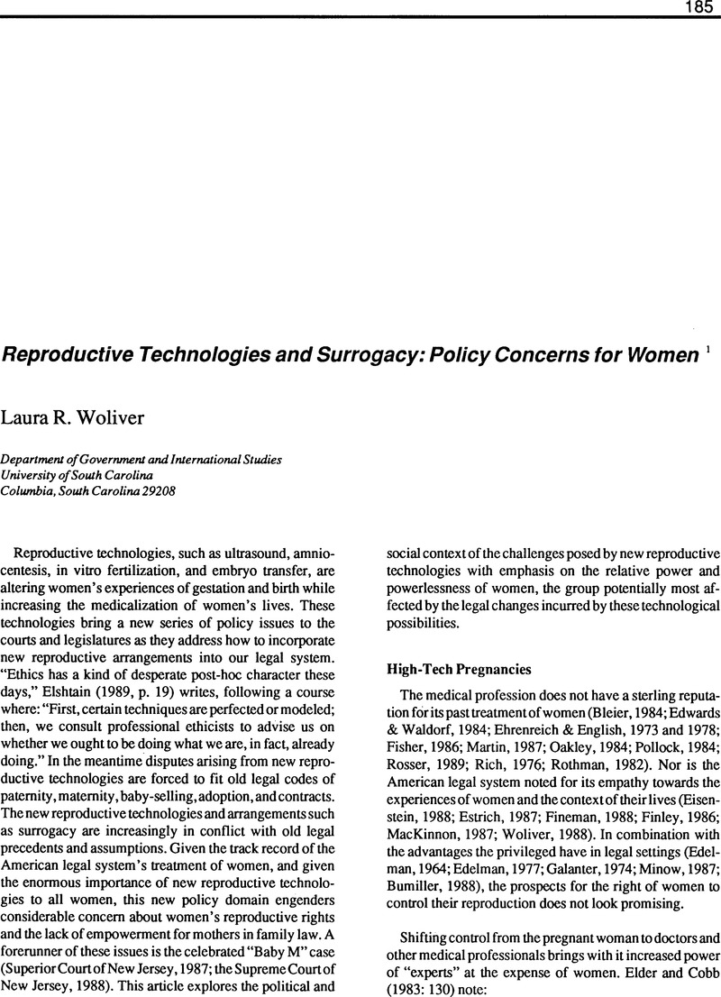 Contemporary issues of surrogacy and birthing technologies essay