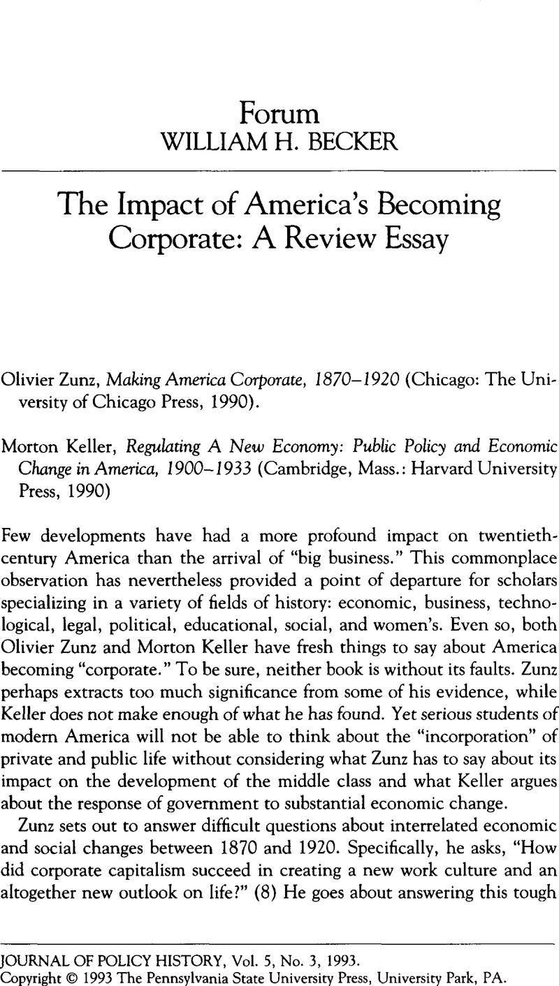the impact of america s becoming corporate a review essay the impact of america s becoming corporate a review essay