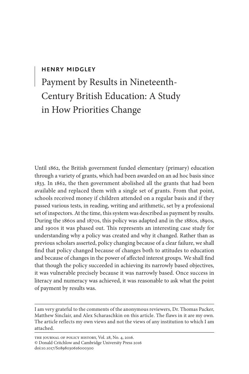 payment by results in nineteenth century british education a payment by results in nineteenth century british education a study in how priorities change