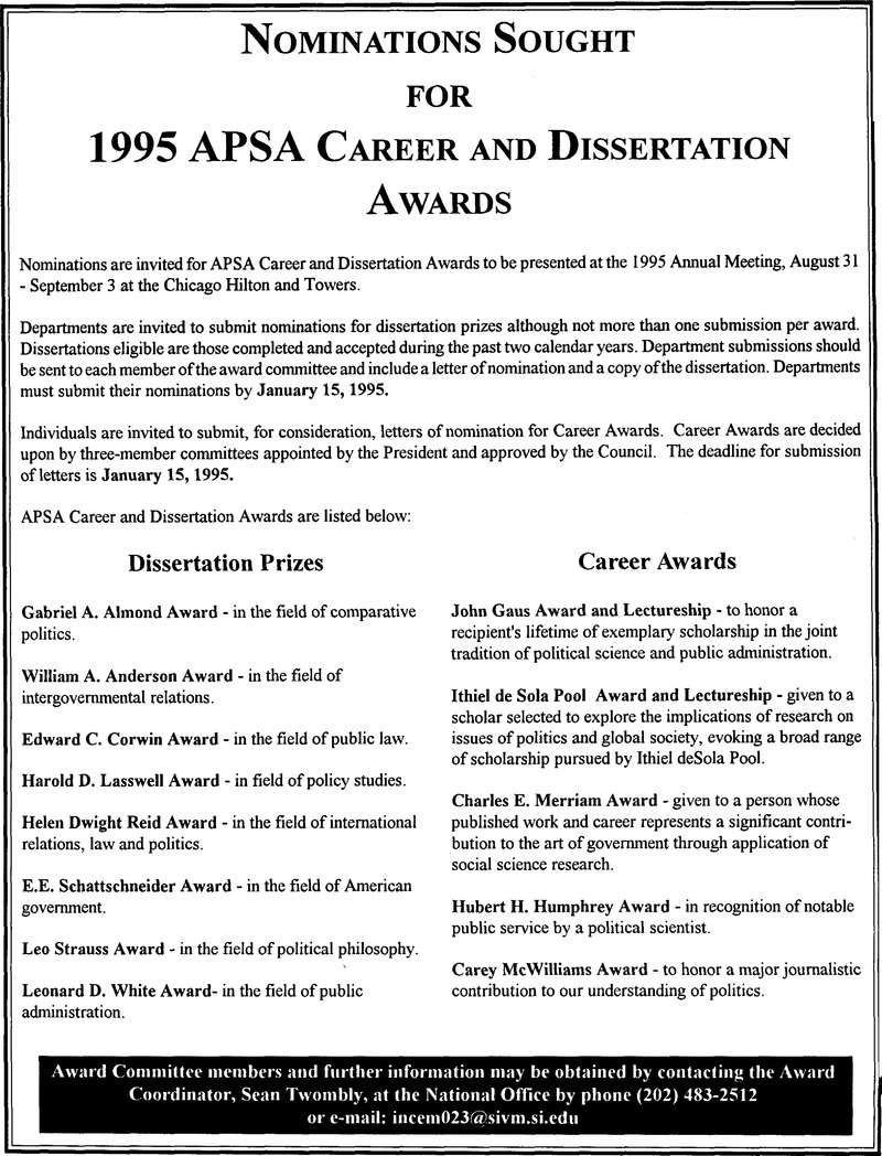 apsa dissertation awards