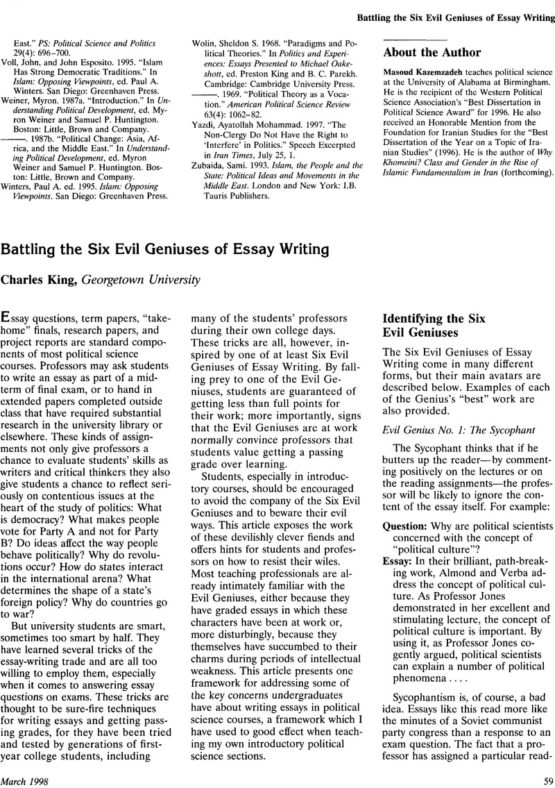 essay of politics battling the six evil geniuses of essay writing  battling the six evil geniuses of essay writing ps political battling the six evil geniuses of