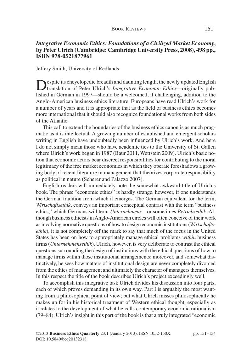 Integrative Economic Ethics: Foundations of a Civilized Market Economy