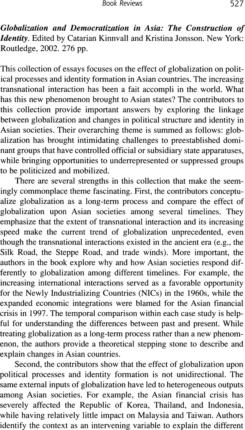 Globalization and Democratization in Asia: The Construction of Identity (review)