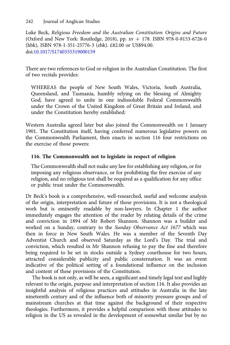 what are the key features of the australian constitution