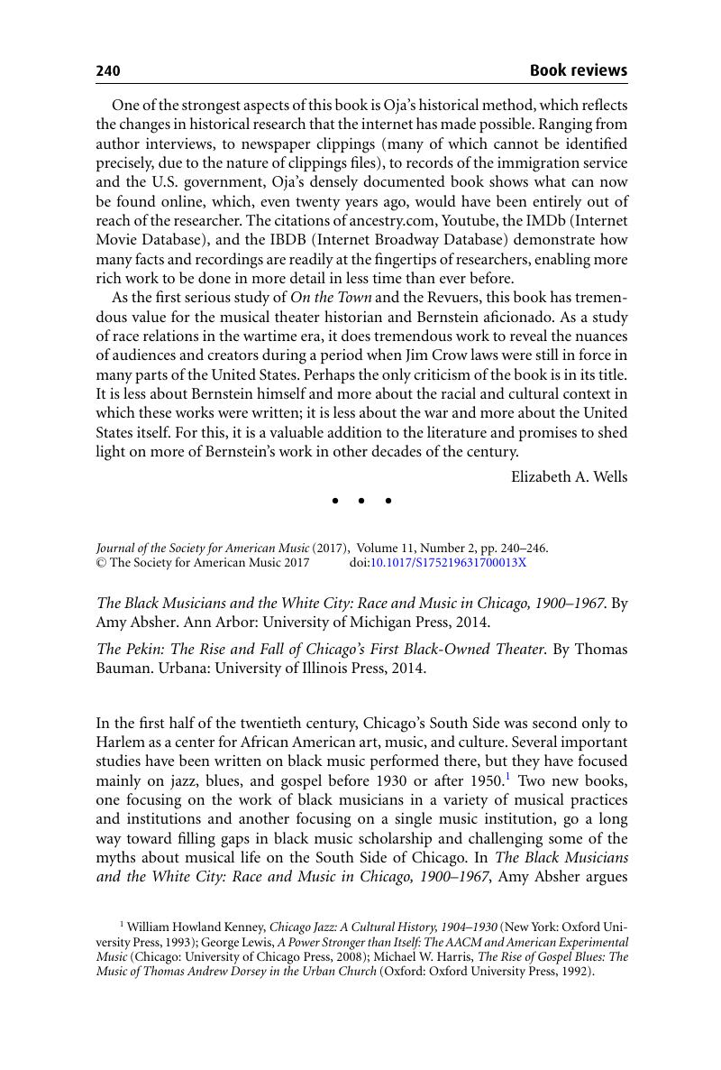 The Black Musician and the White City: Race and Music in Chicago, 1900-1967
