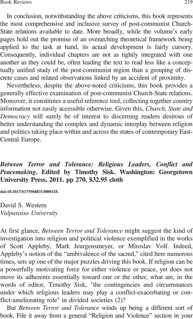 Religion and International Peacemaking