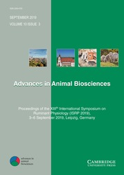 Advances in Animal Biosciences Volume 10 - Special Issue3 -  Proceedings of the XIIIth International Symposium on Ruminant Physiology (ISRP 2019), 3-6 September 2019, Leipzig, Germany